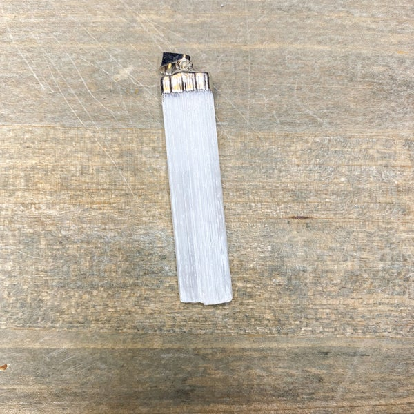 Pendant- Selenite Blade, Silver Plated
