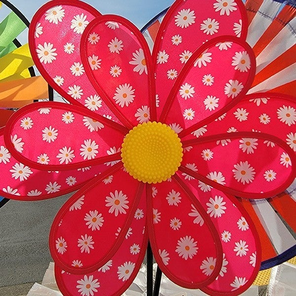 Patch Layered Flowers Wind Spinner Red