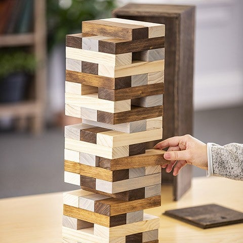 Unfinished Wooden Block Tower Game