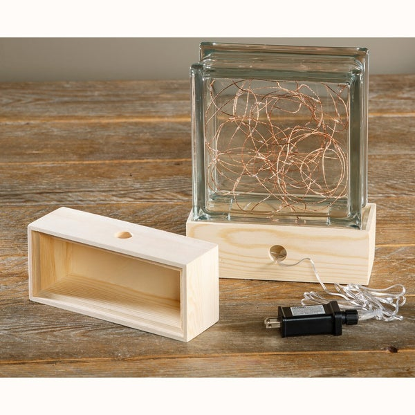 Glass Block Wood Base Holder