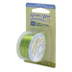 Artistic Wire- 26 Gauge Silver Plated Chartreuse, 15 yd