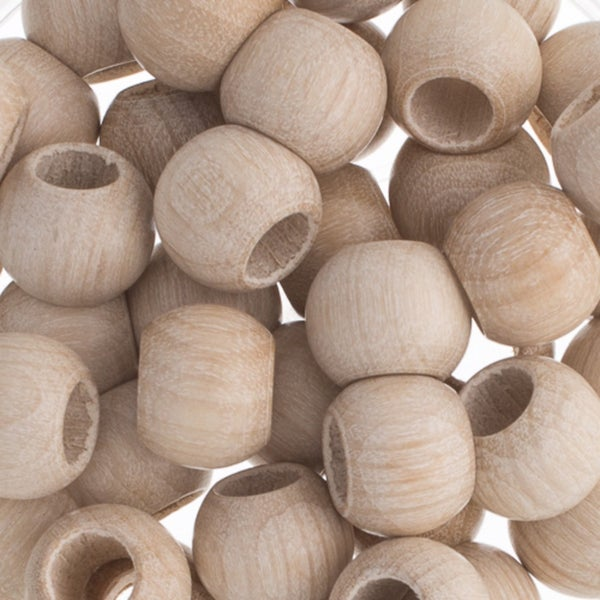 Round Large Hole Wood Beads,  12x9.8mm (two color options)
