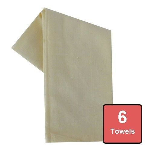 Antique White Cotton Tea Towels 6pc