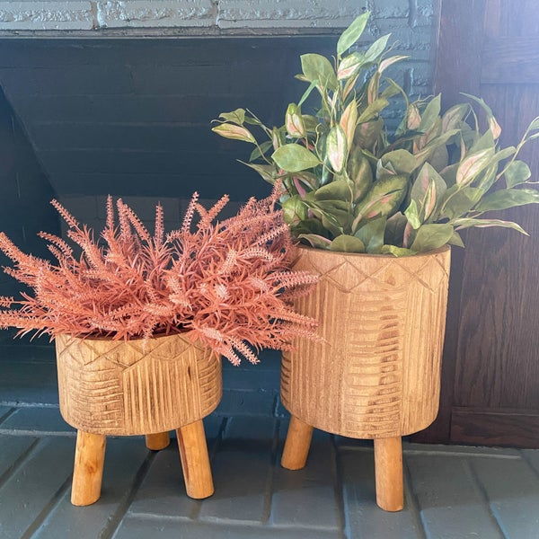 Tribal Print Wood Burnt  Pot with Dowel Legs (2 Sizes)