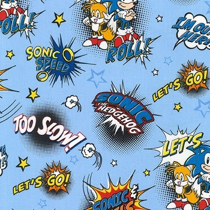 1 Yard Cut - Sonic the Hedgehog Sonic Speed on Blue Licensed Fabric