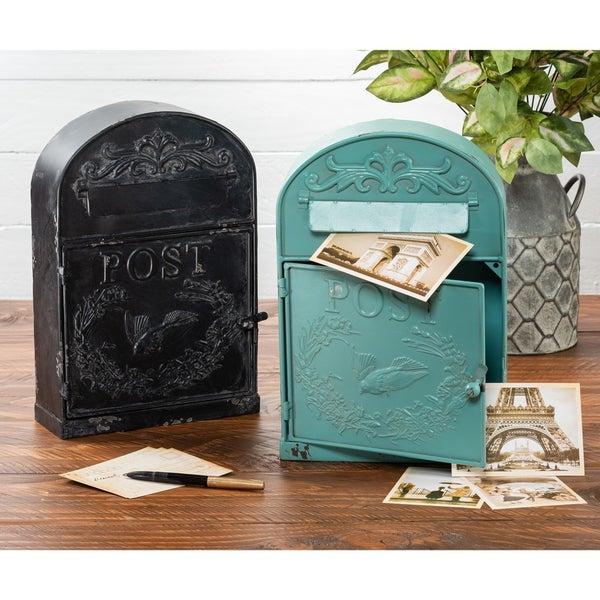 Metal Mailbox, Black or Blue