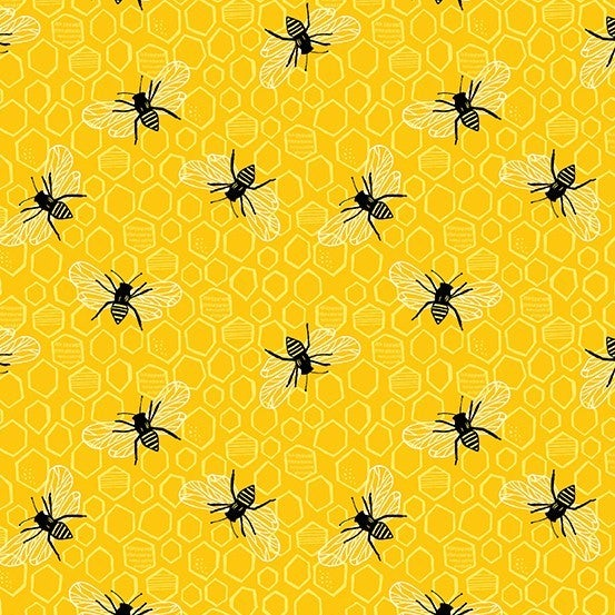 1 Yard Cut - Sunny Bee Bees and Honeycomb on Yellow - Andover Fabrics