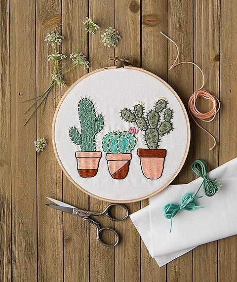 Mini Maker Cactus Garden Embroidery Project