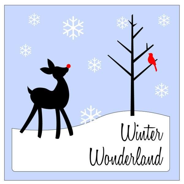 Rub On Vinyl- Winter Wonderland with Deer