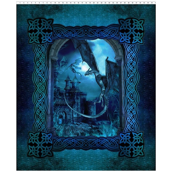 Dragons Vertical Fabric Panel - Blue, 36 inches by 44 inches