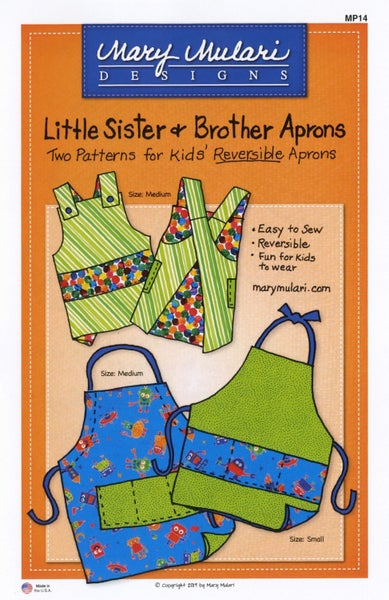 Little Sister and Brother Apron Pattern- Mary's Production