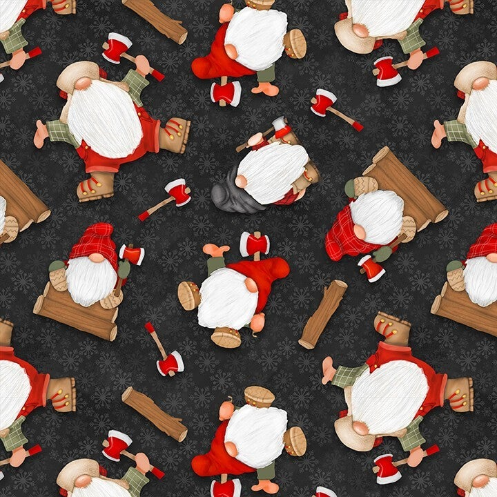 1 Yard Timber Gnomies Flannel 2-Ply Cotton Cut Fabric, Tossed Gnomes