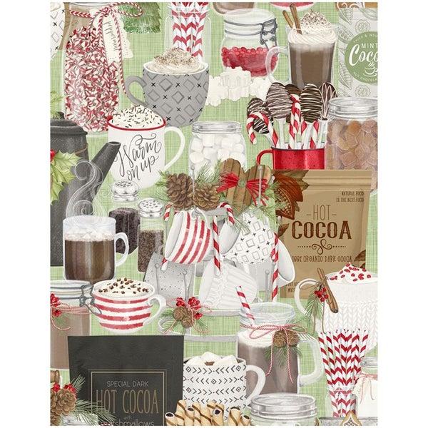 1 yard cut - Hot Cocoa Bar Packed Print Fabric- Green