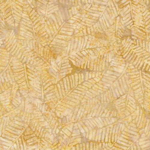 1 Yard Cut - Coco Cabana Batik Banana Leaf, Spicy Mustard