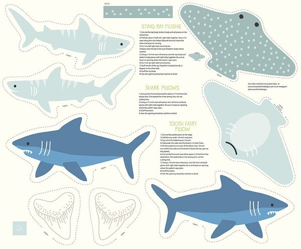 """Riptide Shark and Ray Stuffed Toy Fabric Panel -  36"""" x43"""" - Riley Blake Designs"""