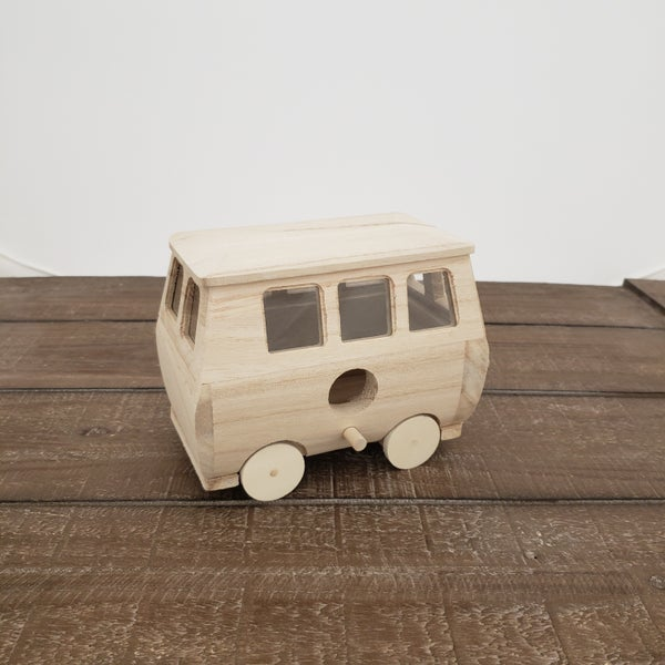 Unfinished Wood Peace Van Bird House
