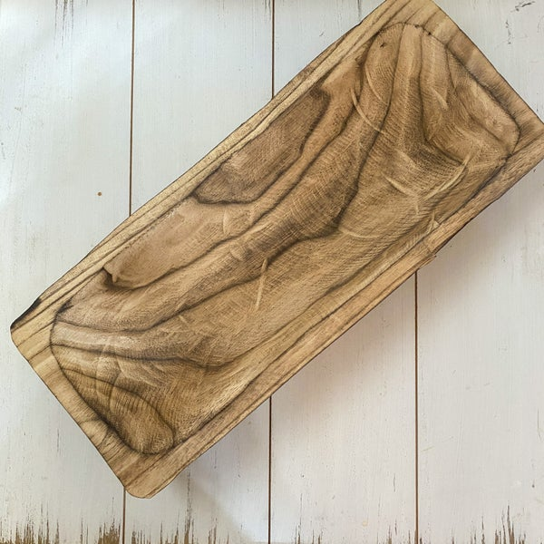 19x8 inch Medium Rectangular Carved Wood Tray