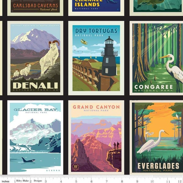 1 Yard National Parks Cut Fabric Panel, Black National Parks Mini Poster
