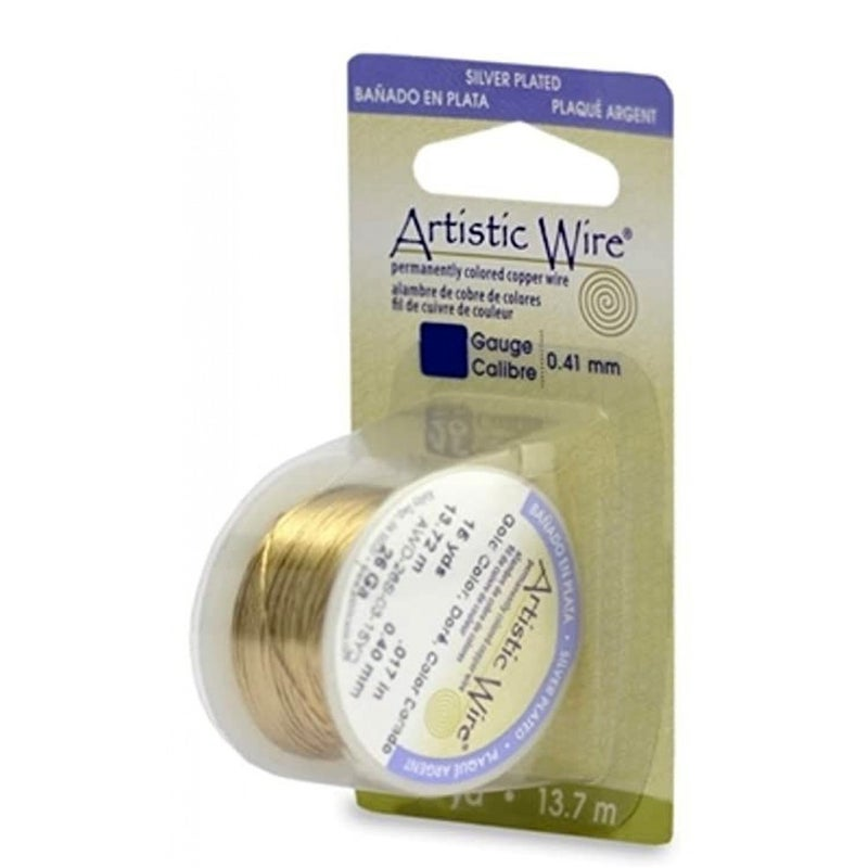 Artistic Wire-26 Gauge Silver Plated, Gold Color, 15 yd