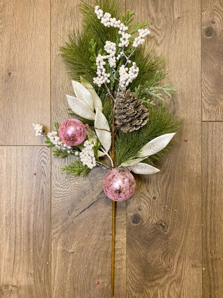 23 Inch White Berries Frosted Pine Spray w/Pink Ornaments