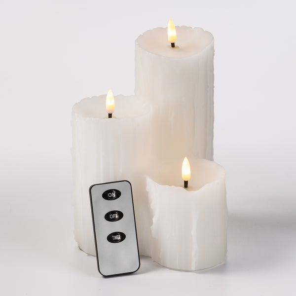 3 Pillar Dripping Wax LED Candle