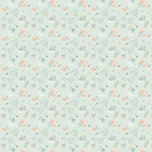 1 Yard Cut - Woodland Songbirds Florals Toss on Mint