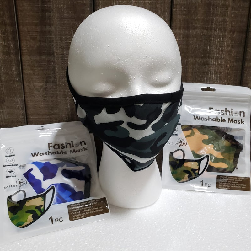 3 Pack Camo Fashion Protective Face Covers, Unisex, Washable