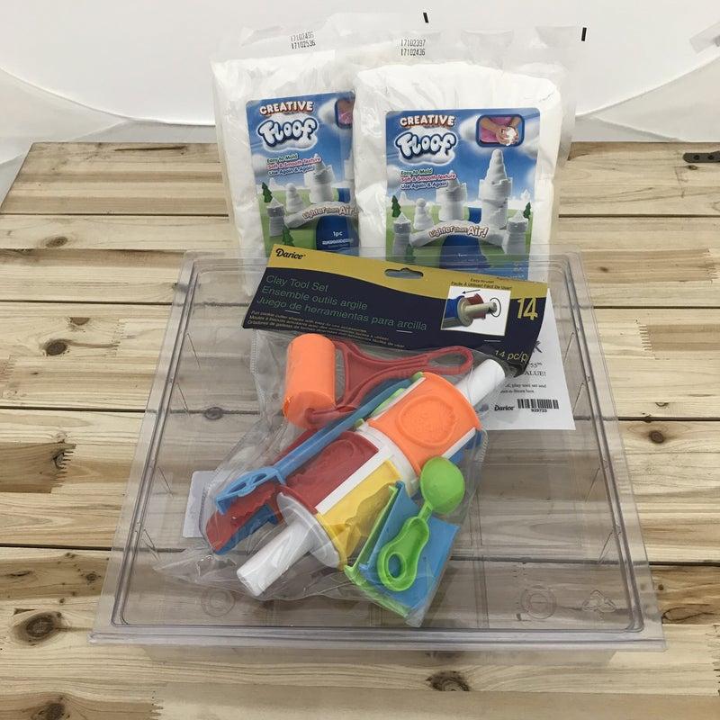 Floof 2 Piece / Storage Container / 14 Piece Play Tool Bundle Set