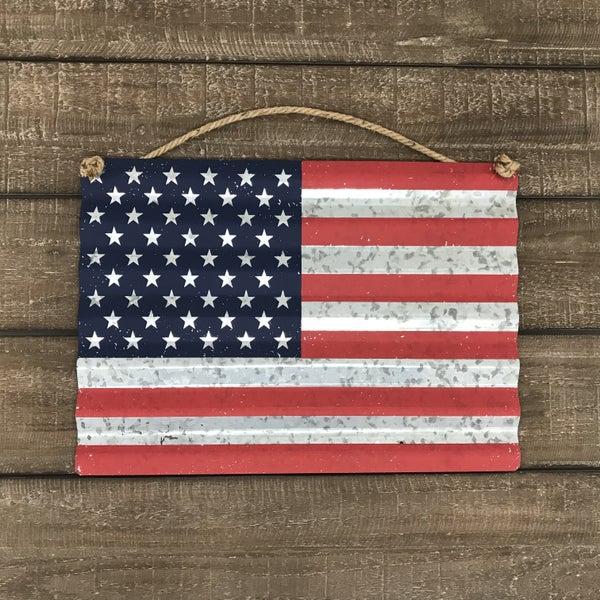 """Metal US Flag Wall Decor, 16"""" x 11-1/2"""""""