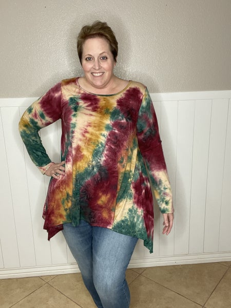 Tie Dye Tunic with Shark Bite Sides