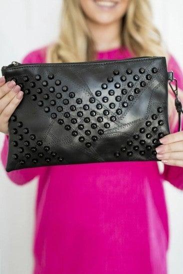 Studded Vegan Leather Clutch
