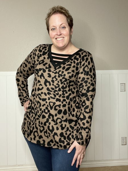 V Neck with Animal Print Top
