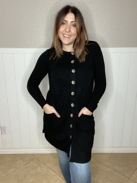 Shirred Waist Buttoned Top With Side Pocket