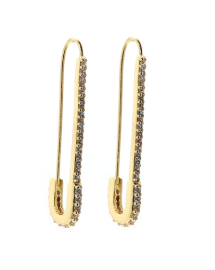Safety First - Thin Pavé Earrings