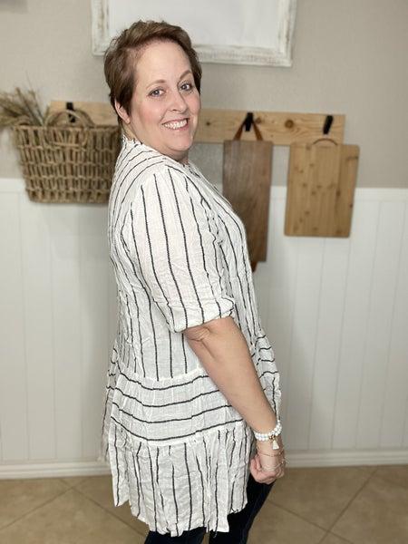 Embroidered Stripe Button-Down Ruffle Tunic