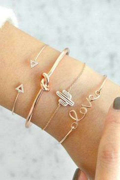 4pcs Love & Cactus Bracelets