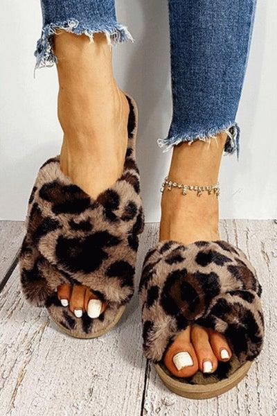 Leopard Plush Slippers