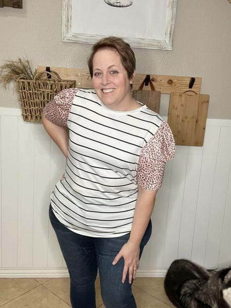 Leopard Ruffle Sleeve Striped T-shirt