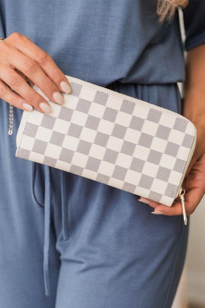 Checkered Faux Leather Wallet