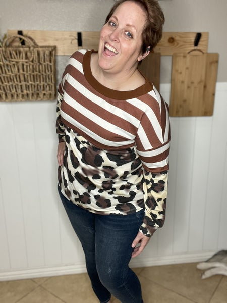 Brown Striped Leopard Long Sleeves Blouse