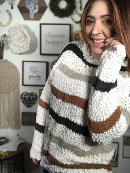 Popcorn Striped Sweater