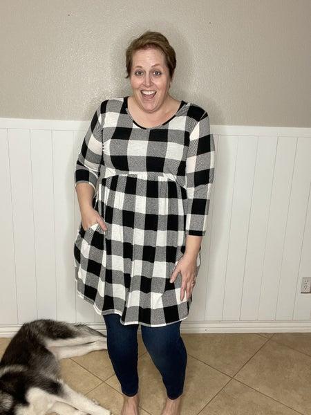 Plaid Babydoll Dress w/ Side Pocket