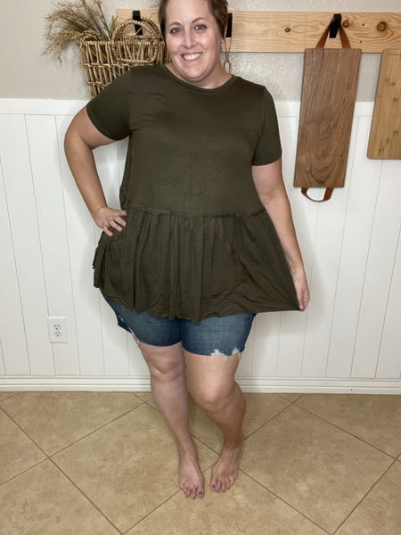 Ruffle Bottom Short Sleeve Top