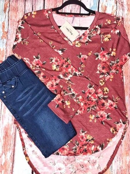 Burgundy floral V-neck shirt *Final Sale*