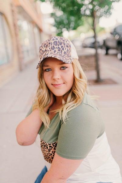 Leopard print CC ponytail hat