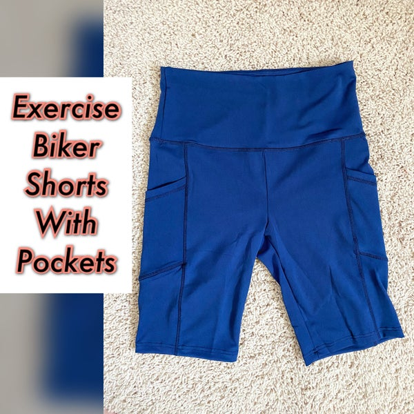 Blue exercise biker shorts with pockets
