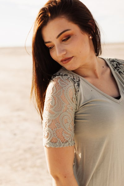 Sage Green Lace Sleeve Top