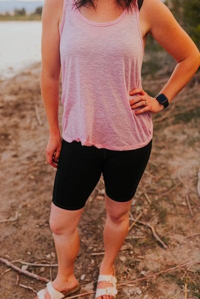Black exercise biker shorts with pockets