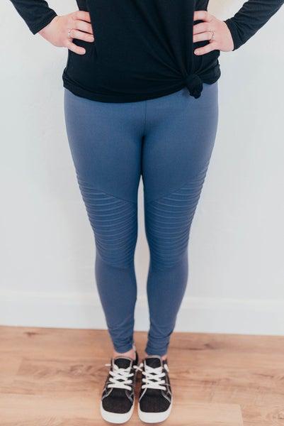 Plus size Vintage blue moto leggings