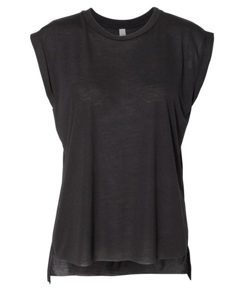 Black workout high low muscle tee